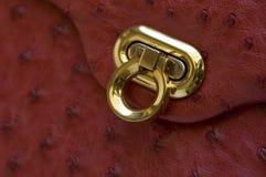 Goldhaken auf Strauß-Leder lizenzfreies stockbild