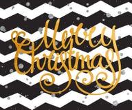 Goldhandgeschriebene Aufschrift frohe Weihnachten Lizenzfreie Stockfotografie