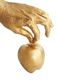 Goldhandholdingapfel lizenzfreie stockbilder