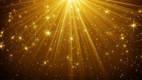 Goldhelle Strahlen und abstrakter Hintergrund der Sterne Lizenzfreie Stockbilder