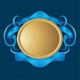 Goldheraldisches Schild Goldschild mit blauem Band auf nahtlosem Musterhintergrund stock abbildung