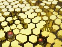 Goldhexagon mit Hintergrund lizenzfreie abbildung