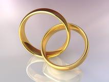 Goldhochzeits-Ringe zusammen stock abbildung
