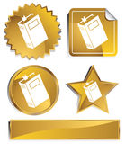 Goldish - Book. Set of 3D gold chrome icons - book Stock Photography