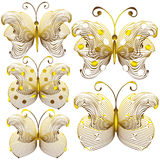 Goldish delicate butterflies  on white background Stock Photo