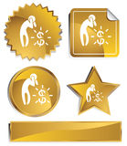 Goldish - Financial Crisis. Set of 3D gold chrome icons - financial crisis Royalty Free Stock Image