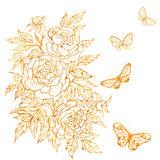 Goldish Flower and Batterflies. Royalty Free Stock Images