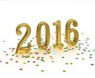 Goldjahr 2016 auf weißem Hintergrund Lizenzfreies Stockfoto