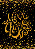 Goldkalligraphische Aufschrift frohe Weihnachten Stockfotografie