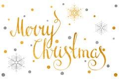 Goldkalligraphische Aufschrift frohe Weihnachten Lizenzfreie Stockfotos