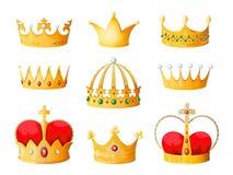 Goldkarikaturkrone Goldene gelbe Kaiserprinzkönigin krönt lokalisierte Diamantkrönungstiara krönende emojis Korona stock abbildung
