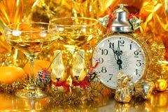 Goldkarte für Weihnachten und das neue Jahr für zwei Lizenzfreie Stockfotos