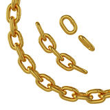 Goldkette lokalisiert auf weißem Hintergrund, Wiedergabe 3d Lizenzfreies Stockfoto