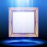 Goldklassischer quadratischer Rahmen im Blaulicht lizenzfreie abbildung