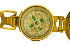 Goldkompaß getrennt auf weißem Hintergrund Lizenzfreies Stockfoto