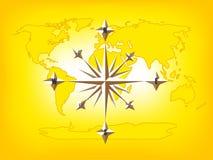 Goldkompass-Rosen-Weltkarte Stockbild
