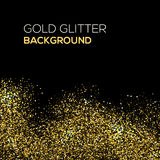 Goldkonfettifunkeln auf schwarzem Hintergrund Abstrakter Goldstaub-Funkelnhintergrund Goldene Explosion von Konfettis golden Lizenzfreies Stockbild