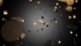 Goldkonfettis im Schwarzen auf einem weißen Hintergrund stock footage