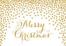Goldkonfettis Weihnachtskarte lizenzfreies stockfoto