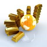 Goldkontrollen des Weltkonzeptes Stockbild