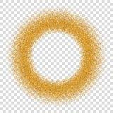 Goldkreis-Funkelnrahmen Goldenes Konfetti punktiert Runde, weißen transparenten Hintergrund Helles Beschaffenheitsmuster Weihnach stock abbildung