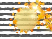 Goldkreis mit Herbstahornblatthintergrund Jahreszeitschablone für Entwurfsfahne, Karte, Broschüre, Karte, Plakat und stock abbildung