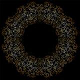 Goldkreismuster auf schwarzem backgroud Stockfotos