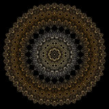 Goldkreismuster auf schwarzem backgroud Stockbild