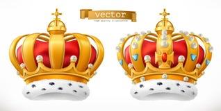Goldkrone, König Ikone des Vektor 3d Stockfotos