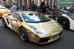 GoldLambourghini Gumball Sammlung London 2010 Lizenzfreies Stockfoto