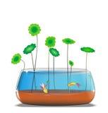 Goldlfish nell'illustrazione del fishbowl Immagini Stock