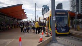 GoldlinQ-Licht-Schiene in Gold Coast Australien Stockfotografie