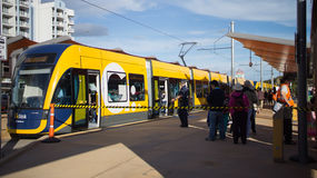 GoldlinQ Light Rail in Gold coast Australia. GoldlinQ Light Rail up and running and open to the public for the first time in the Gold Coast, Australia. GoldlinQ Stock Photo