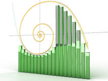 Goldlogarithmische Kurve mit Kästen â1 stock abbildung