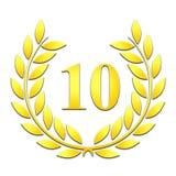 Goldlorbeer-10. Jahrestag auf einem weißen Hintergrund lizenzfreie abbildung