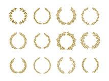Goldlorbeerlaubkranz-Vektorillustration eingestellt auf weißen Hintergrund stock abbildung