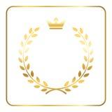 Goldlorbeerweizen-Kranzikone lizenzfreie abbildung