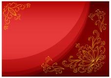 Goldlotos auf einem Scharlachrot Hintergrund Lizenzfreies Stockfoto