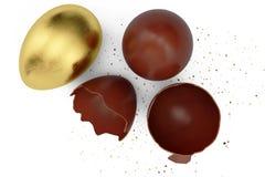 Goldluxusei- und -schokoladenOsterei Gebrochenes, gebrochenes Schokoladenei Eier der süßen Schokolade, Feiertag und Ostern-Symbol vektor abbildung