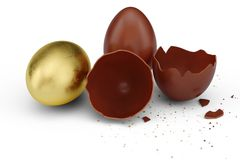 Goldluxusei- und -schokoladenOsterei Gebrochenes, gebrochenes Schokoladenei Eier der süßen Schokolade, Feiertag und Ostern-Symbol lizenzfreie abbildung