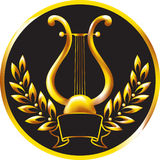 Goldlyre, gestaltet worden durch einen Lorbeer Wreath. Lizenzfreies Stockbild