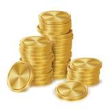 Goldmünze-Stapel-Vektor Goldene Finanzikonen, Zeichen, Erfolgs-Bankwesen-Bargeld-Symbol Getrennte Wiedergabe 3d realistisch stock abbildung