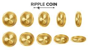 Goldmünze-Vektor-Satz der Kräuselungs-Münzen-3D realistisch Flip Different Angles Digital-Währungs-Geld Getrennte Wiedergabe 3d Stockfoto