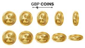 Goldmünze-Vektor-Satz GBPs 3D Realistische Abbildung Flip Different Angles Geld Front Side Getrennte Wiedergabe 3d Stockbild