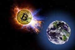 Goldmünze von Bitcoin fällt zu Boden vom Raum Lizenzfreie Stockfotos