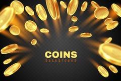 Goldmünzeexplosion Goldener Dollarmünzenregen Spielpreisgeldspritzen Kasinojackpot-Vektorkonzept lokalisiert auf Schwarzem stock abbildung