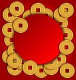 Goldmünzehintergrund für Chinesisches Neujahrsfest Stockfoto