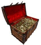 Goldmünzen in der alten Piratenschatztruhe Stockbilder