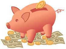 Goldmünzen der Piggy Querneigung und Stockbilder