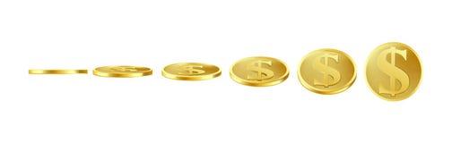 Goldmünzen des Vektors 3D, Elfe für Animation stock abbildung